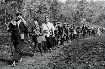 Pol Pot leading Khmer Rouge into jungle
