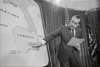 Nixon points on Cambodia map